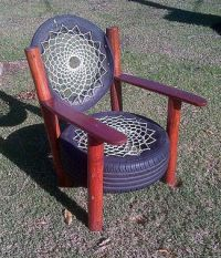 Home Talk has a cool tire chair with a cool rope lattice ...