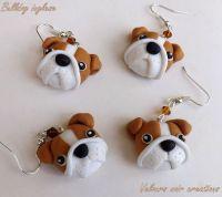 English bulldog earrings handmade in polymer clay ...