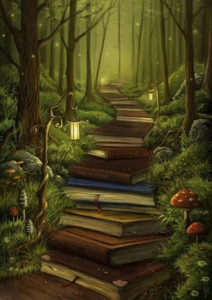 Love this idea for a back piece! Could put my boys names on the books! The Reader's Path by Jeremiah Morelli ~ Path to a magical place ♥:
