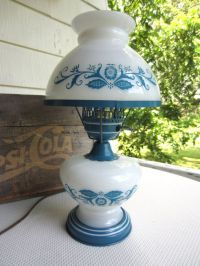 Vintage Milk Glass Hurricane Lamp Blue Flowers Metal Base ...