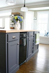 dark gray kitchen island painted with peppercorn from ...