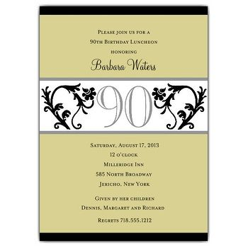 90 Years Birthday Invitation Templates Printable Free