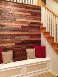 Stained wood wall. different woods, different stains ...