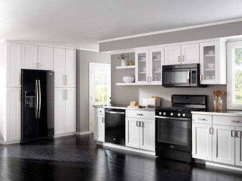 Dark Gray Kitchen Cabinets With Light Gray Walls Black Appliances, White/light Grey Cabinets And Darker