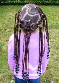 Black Braided Hairstyles for Little Girls with Beads ...