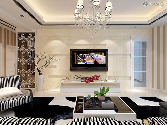 Living room tv, Wall design and Modern living rooms on