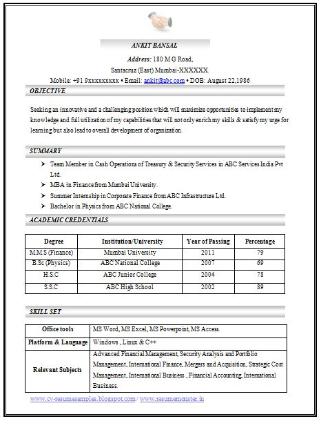 B Tech Freshers Resume Format Blogspot 100 Cv Templates Sample Template Example Of Beautiful