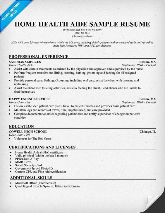 home health aide resume samples. resume home health care aide ...