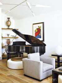 Contemporary White Living Room with Grand Piano | Luxe ...