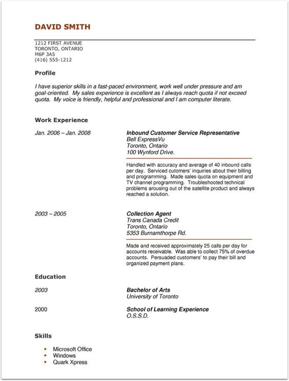 Resume Format Without Experience Resume Format Without Experience - resume template with no work experience