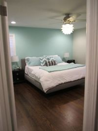 Aqua accent wall with grey...and that fan light!! | { home ...