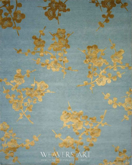 Spray Emma Gardner Floral Area Rug Blue Gold