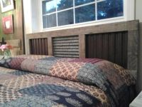 Rustic headboard. Hubs made from old lumber & corrugated ...