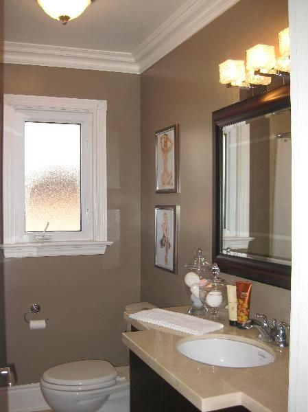 Coordinate Kitchen Cabinets With Espresso Wallpaper - Bathrooms - Vintage Art, Bathroom, Taupe Paint