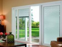 sliding glass doors with blinds inside them | ... Photo ...