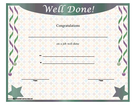 Certificate templates for job well done gallery certificate printable congratulations certificate cvresumeunicloud yadclub Choice Image