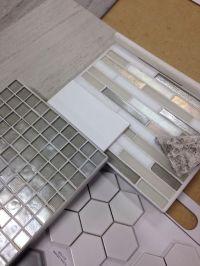 Bathroom tile combo- Hexagon tiles on shower pan with grey ...