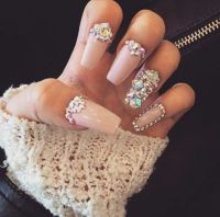 Nude Square Tip Acrylic Nails w/ Rhinestones | Nails 2 ...