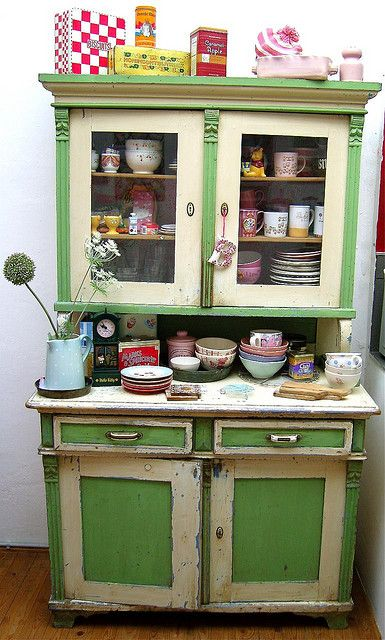 Kitchen Cabinet Buffet Ideas Retro Kitchen - Vintage Kitchen Green Cabinet & Buffet
