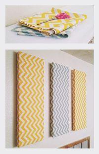 Chevron DIY wall decor. Foam, fabric and small nails ...