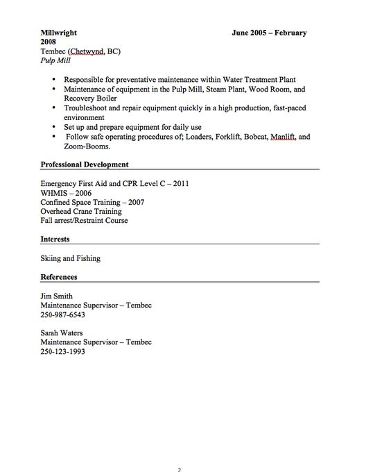 fishing guide resume example