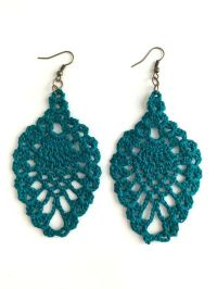 Teal chandeliers, Crochet earrings and Teal on Pinterest