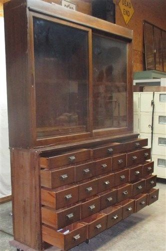 27 Drawer Country Store Oak Display Case Counter Cabinet