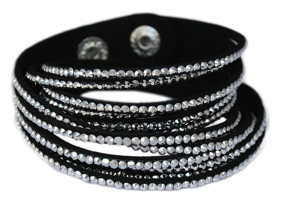 Amazoncom Velvet Wrap Bracelet With Rhinestones Black