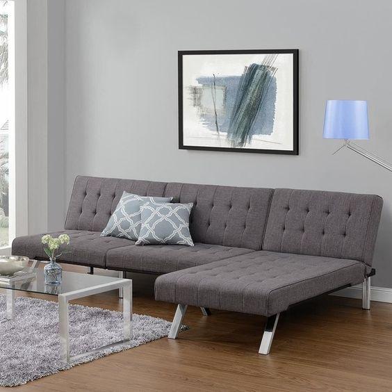 Dhp Emily Grey Linen Chaise Lounger (Grey) (Foam)   Great Deals