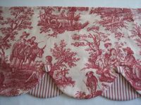 RED WAVERLY COUNTRY LIFE TOILE LAYERD SCALLOP COVERED