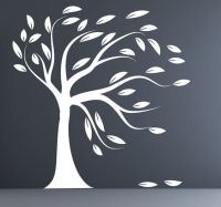 Modern decal silhouette white tree wall decal blowing tree ...