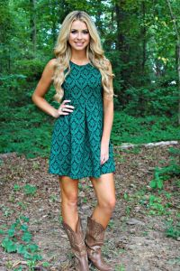 country girl style Teal green dress with taupe cowboy ...