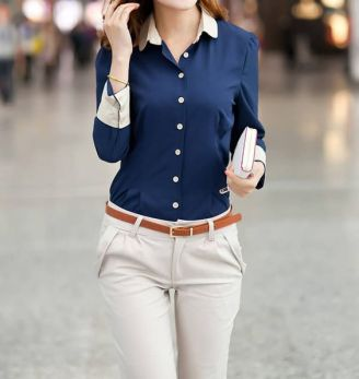 Cheap Single-breasted Stitching Cuffs Cotton Color Matching Formal Blouse For Women(With Random Bow-tie) (BLUE,S), Blouses - Rosewholesale.com: