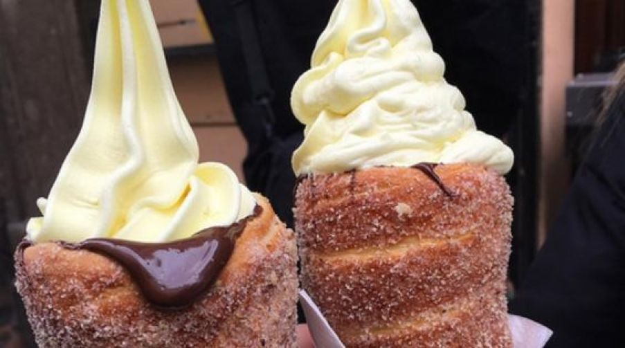 Donut Ice Cream Cone. Originally called Chimney Cakes. I don't care, what it is called, it looks yummy!: