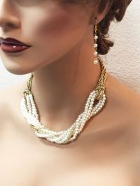 Bridal jewelry, Bridal Pearl Gold necklace and earrings ...
