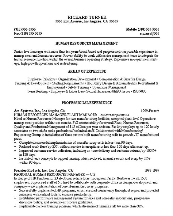 Sample resume for HR Manager Working Life Pinterest - sample resume with no work experience