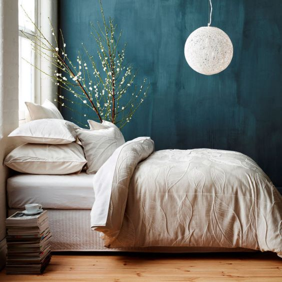 Trend We Love: Deep Teal Walls | Teal Paint, Branch Decor And Teal