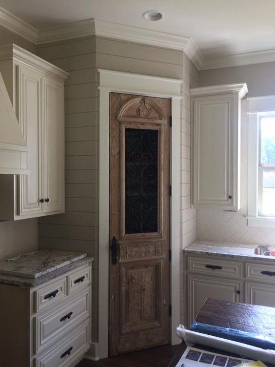 Antique pantry door and shiplap: