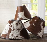 Cowhide lamp shades | Pottery Barn I NEED ONE! | Cowhide ...