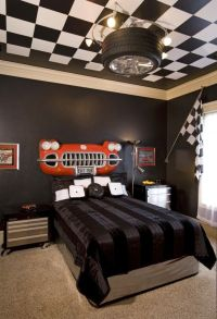 Kids boys guest car lovers bedroom. Black and white ...