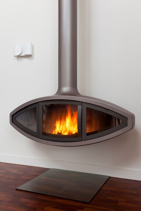 EyeFire suspended stove by Firemaker, lit
