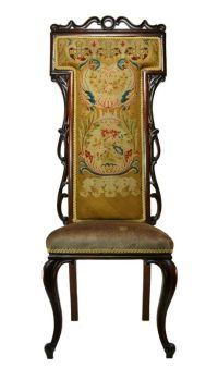 Tall Back Mahogany and Rosewood Needlepoint Chair, Antique ...