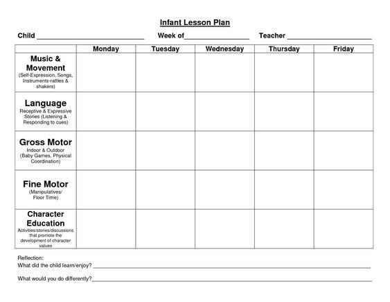 infant lesson plan templates
