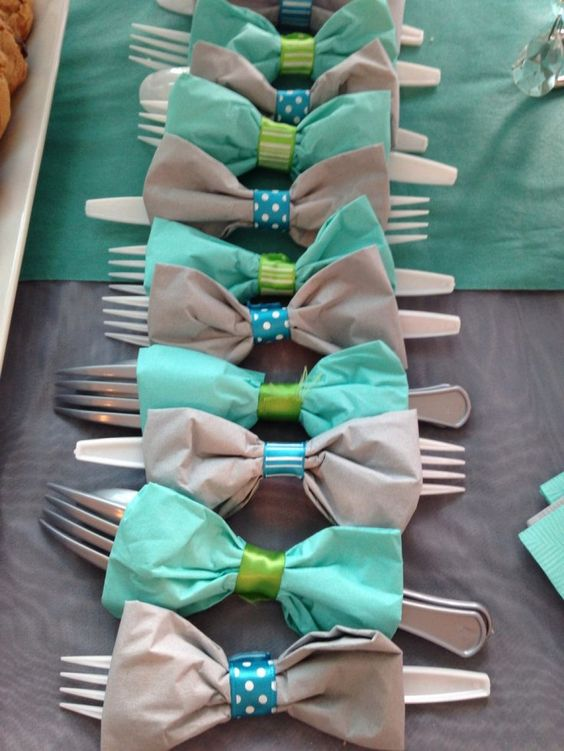 Mustache baby shower utensils