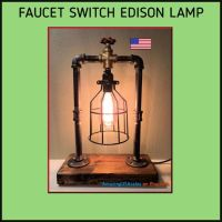 Industrial Steampunk Edison Lamp - Faucet handle on off ...