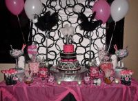 Sweet 16 Sweets dessert and candy table Hot pink, black ...