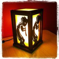 Kokopelli night stand lamp...wood.   My Passion ...