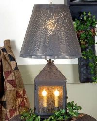 PUNCHED TIN LANTERN 2 Candelabra Lamp with Rustic Willow ...