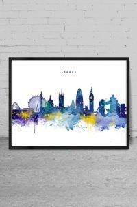 London Skyline Watercolor Art Print London Wall Art by ...