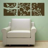 Wall Art - Tree Branch and Birds Three Panel Decals -- 60 ...